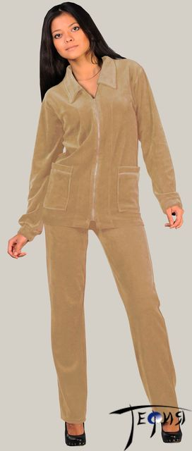 женский велюровый костюм 4-93 беж