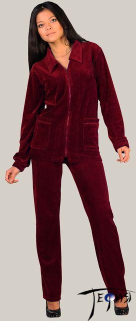женский велюровый костюм 4-93 бордо