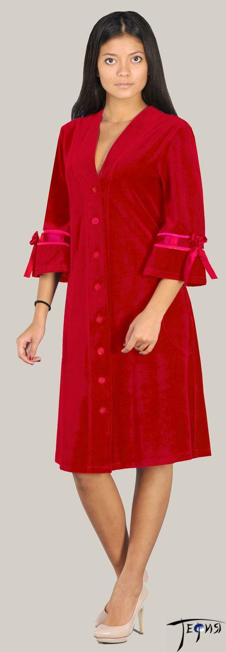Женский халат на пуговицах из велюра арт. 5-327
