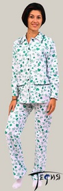 Женская теплая пижама из трикотажа 100% хб артикул  3-45