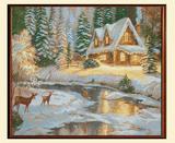 Картина из гобелена - Зимний домик с-3134
