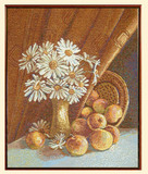 Картина из гобелена - Натюрморт с ромашками с-3317